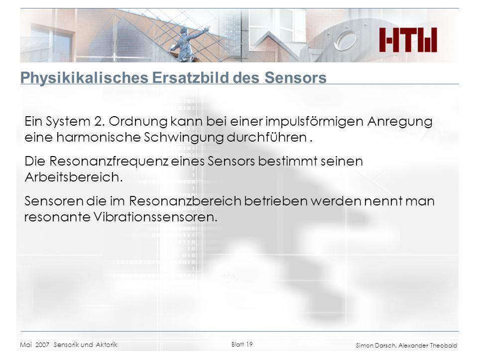 Mai 2007 Sensorik und Aktorik Blatt 19 Simon Darsch, Alexander Theobald Physikikalisches Ersatzbild des Sensors Ein System 2. Ordnung kann bei einer i