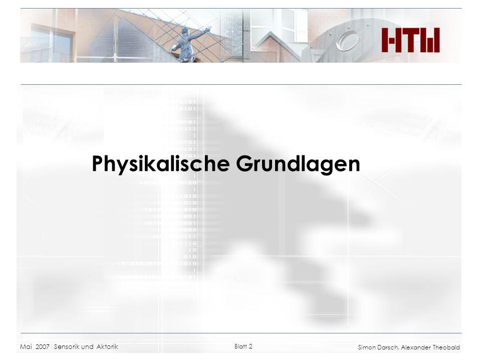 Mai 2007 Sensorik und Aktorik Blatt 2 Simon Darsch, Alexander Theobald Physikalische Grundlagen