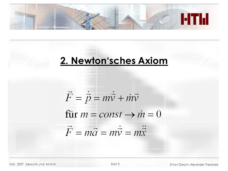 Mai 2007 Sensorik und Aktorik Blatt 5 Simon Darsch, Alexander Theobald 2. Newtonsches Axiom