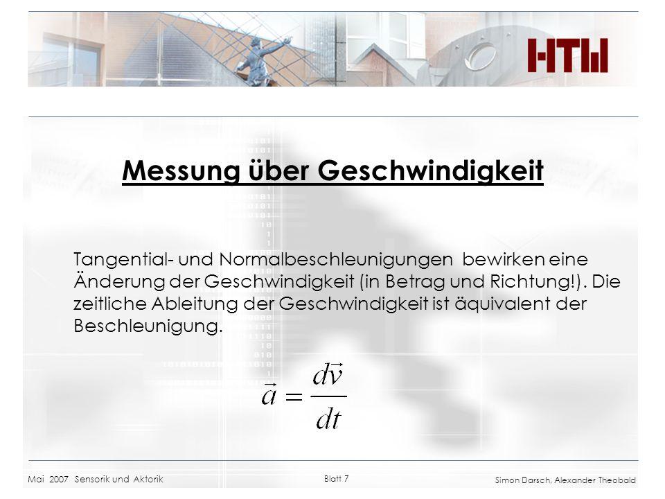 Mai 2007 Sensorik und Aktorik Blatt 7 Simon Darsch, Alexander Theobald Messung über Geschwindigkeit Tangential- und Normalbeschleunigungen bewirken ei