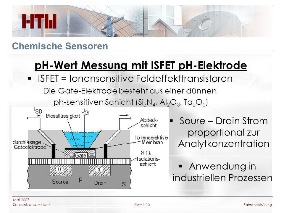 Mai 2007 Sensorik und Aktorik Blatt 1.10Fahrenholz/Jung Chemische Sensoren pH-Wert Messung mit ISFET pH-Elektrode ISFET = Ionensensitive Feldeffekttra