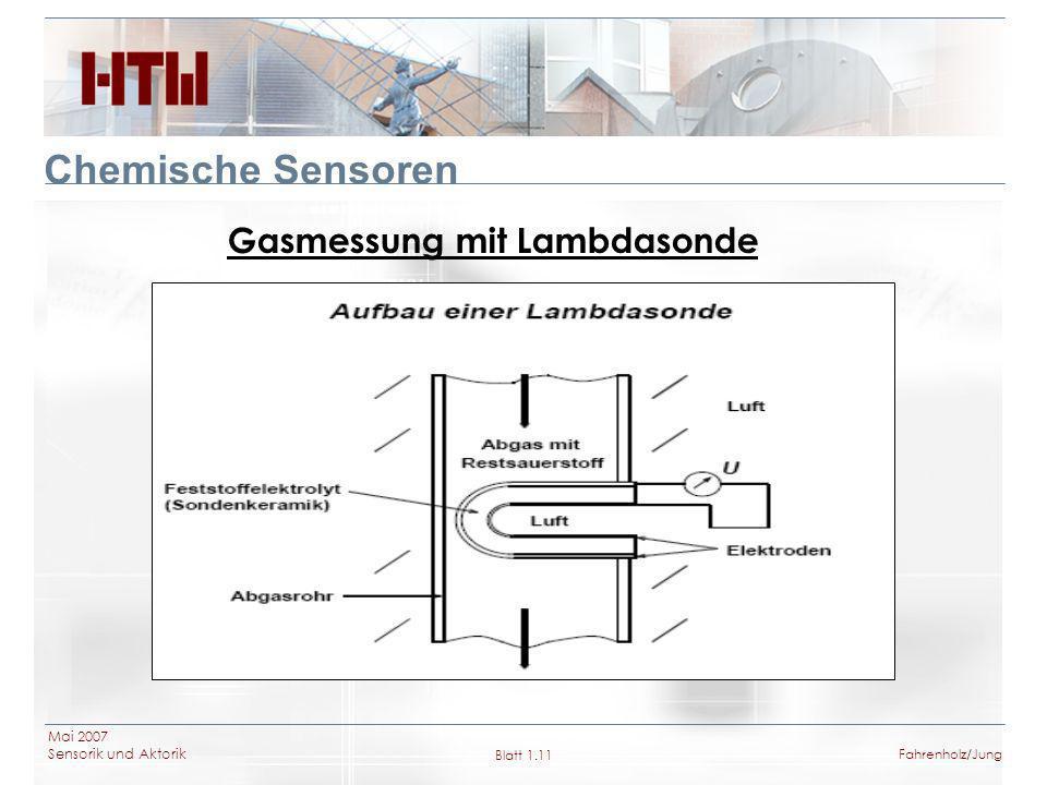 Mai 2007 Sensorik und Aktorik Blatt 1.11Fahrenholz/Jung Chemische Sensoren Gasmessung mit Lambdasonde
