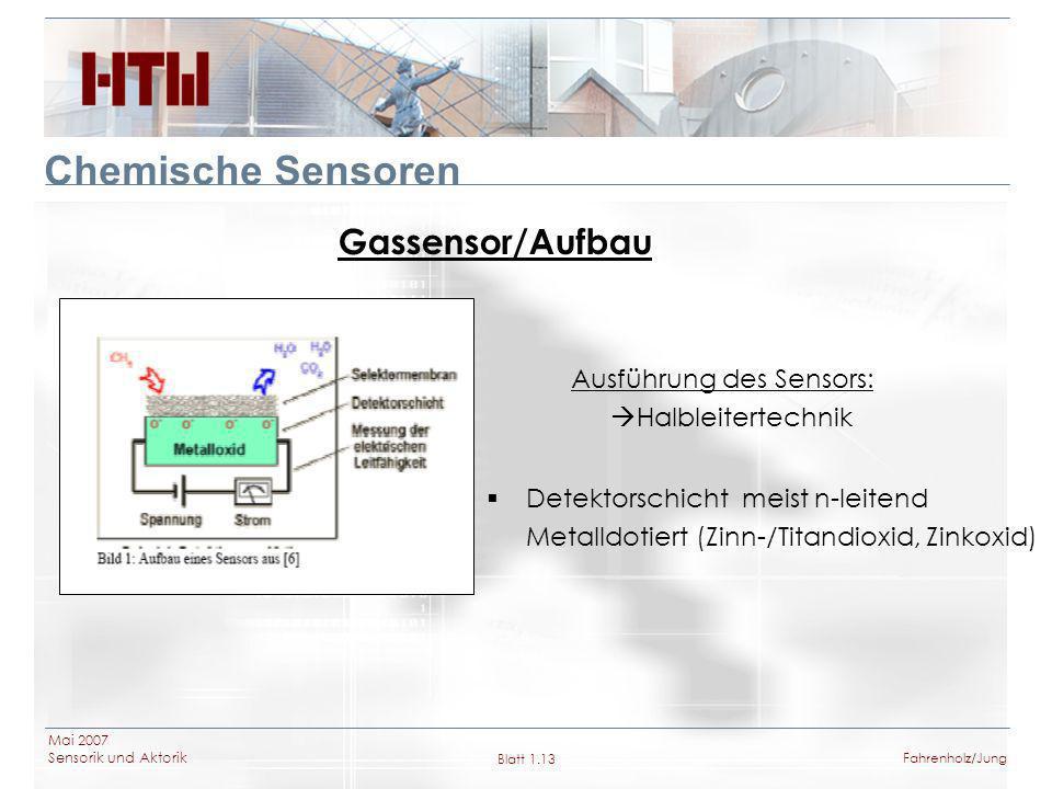 Mai 2007 Sensorik und Aktorik Blatt 1.13Fahrenholz/Jung Chemische Sensoren Gassensor/Aufbau Detektorschicht meist n-leitend Metalldotiert (Zinn-/Titan