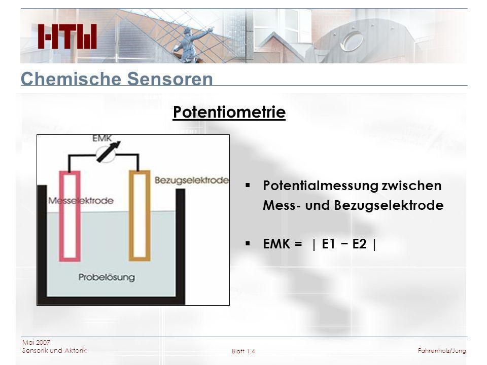 Mai 2007 Sensorik und Aktorik Blatt 1.4Fahrenholz/Jung Chemische Sensoren Potentiometrie Potentialmessung zwischen Mess- und Bezugselektrode EMK = | E