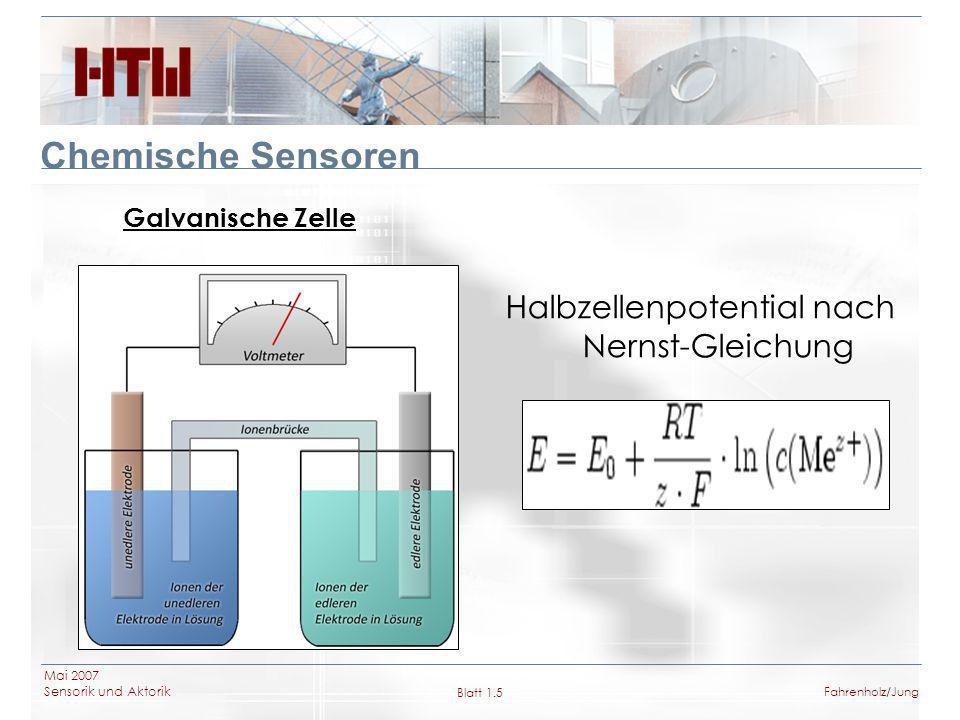 Mai 2007 Sensorik und Aktorik Blatt 1.6Fahrenholz/Jung Chemische Sensoren Glaselektrode Ionenaustauchende Glasmembran aus Spezialglas (Zusammensetzung ca.
