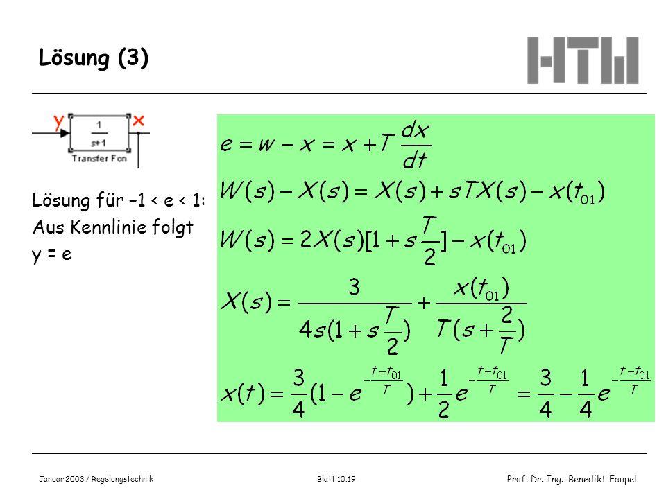 Prof. Dr.-Ing. Benedikt Faupel Januar 2003 / Regelungstechnik Blatt 10.19 Lösung (3) Lösung für –1 < e < 1: Aus Kennlinie folgt y = e