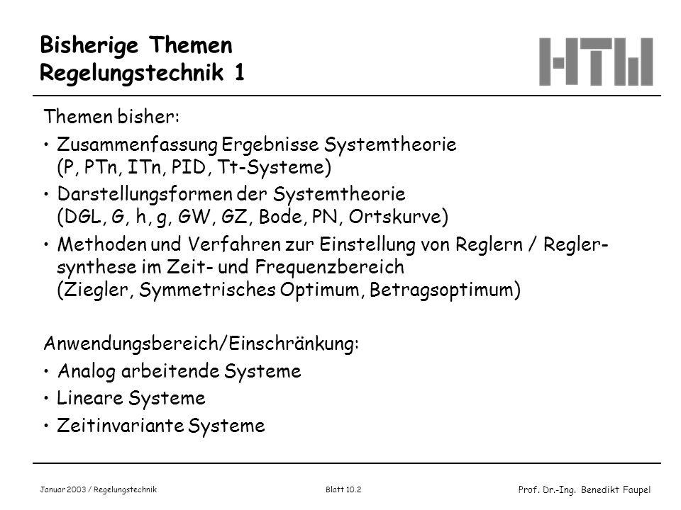 Prof. Dr.-Ing. Benedikt Faupel Januar 2003 / Regelungstechnik Blatt 10.2 Bisherige Themen Regelungstechnik 1 Themen bisher: Zusammenfassung Ergebnisse