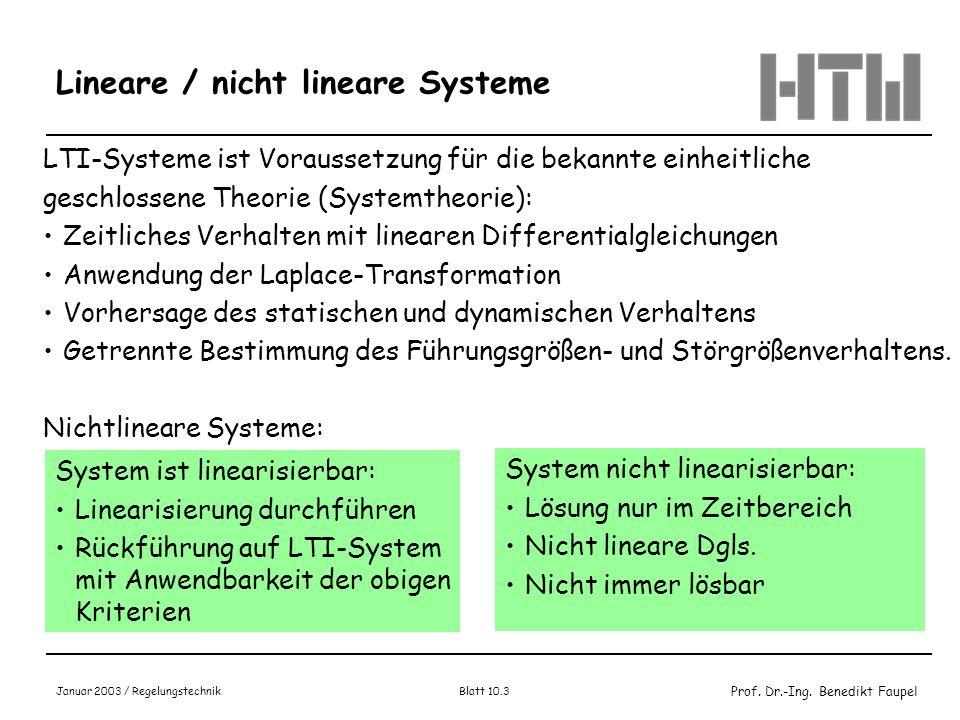 Prof. Dr.-Ing. Benedikt Faupel Januar 2003 / Regelungstechnik Blatt 10.3 Lineare / nicht lineare Systeme LTI-Systeme ist Voraussetzung für die bekannt