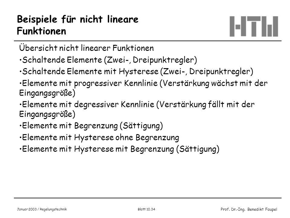 Prof. Dr.-Ing. Benedikt Faupel Januar 2003 / Regelungstechnik Blatt 10.34 Beispiele für nicht lineare Funktionen Übersicht nicht linearer Funktionen S