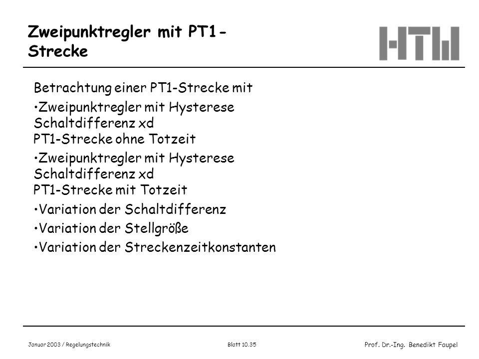 Prof. Dr.-Ing. Benedikt Faupel Januar 2003 / Regelungstechnik Blatt 10.35 Zweipunktregler mit PT1- Strecke Betrachtung einer PT1-Strecke mit Zweipunkt