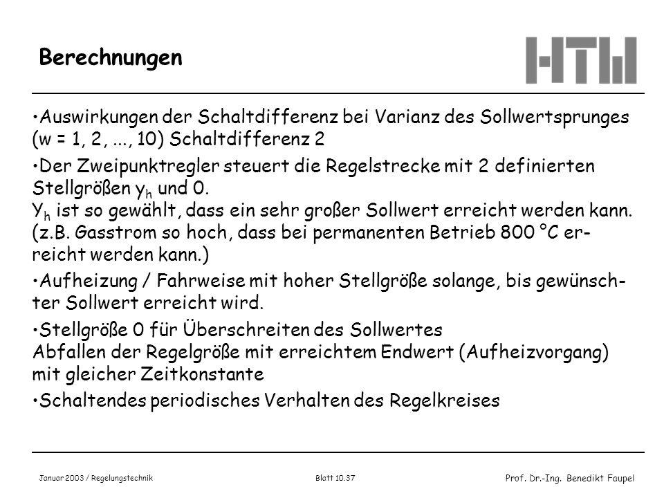 Prof. Dr.-Ing. Benedikt Faupel Januar 2003 / Regelungstechnik Blatt 10.37 Berechnungen Auswirkungen der Schaltdifferenz bei Varianz des Sollwertsprung