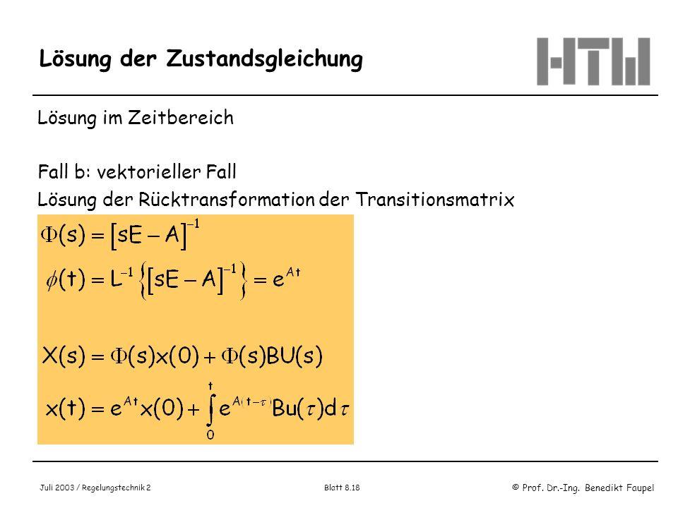 © Prof. Dr.-Ing. Benedikt Faupel Juli 2003 / Regelungstechnik 2 Blatt 8.18 Lösung der Zustandsgleichung Lösung im Zeitbereich Fall b: vektorieller Fal