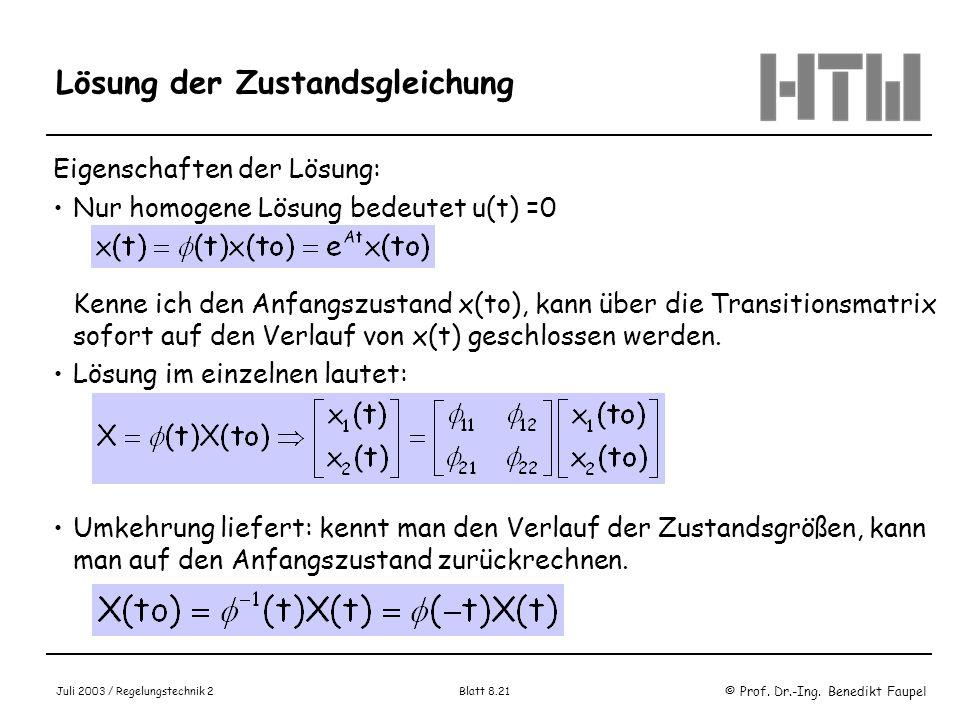 © Prof. Dr.-Ing. Benedikt Faupel Juli 2003 / Regelungstechnik 2 Blatt 8.21 Lösung der Zustandsgleichung Eigenschaften der Lösung: Nur homogene Lösung