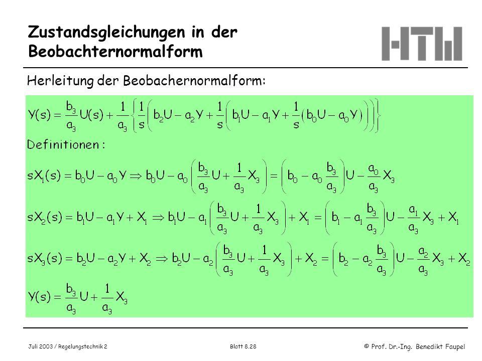 © Prof. Dr.-Ing. Benedikt Faupel Juli 2003 / Regelungstechnik 2 Blatt 8.28 Zustandsgleichungen in der Beobachternormalform Herleitung der Beobachernor