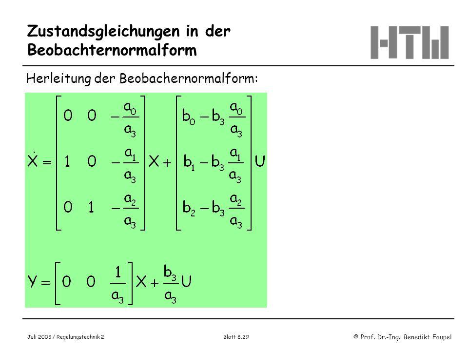 © Prof. Dr.-Ing. Benedikt Faupel Juli 2003 / Regelungstechnik 2 Blatt 8.29 Zustandsgleichungen in der Beobachternormalform Herleitung der Beobachernor