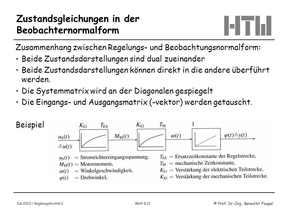 © Prof. Dr.-Ing. Benedikt Faupel Juli 2003 / Regelungstechnik 2 Blatt 8.31 Zustandsgleichungen in der Beobachternormalform Zusammenhang zwischen Regel