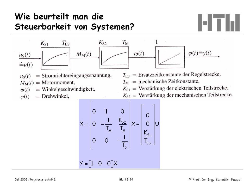 © Prof. Dr.-Ing. Benedikt Faupel Juli 2003 / Regelungstechnik 2 Blatt 8.34 Wie beurteilt man die Steuerbarkeit von Systemen? Beispiel