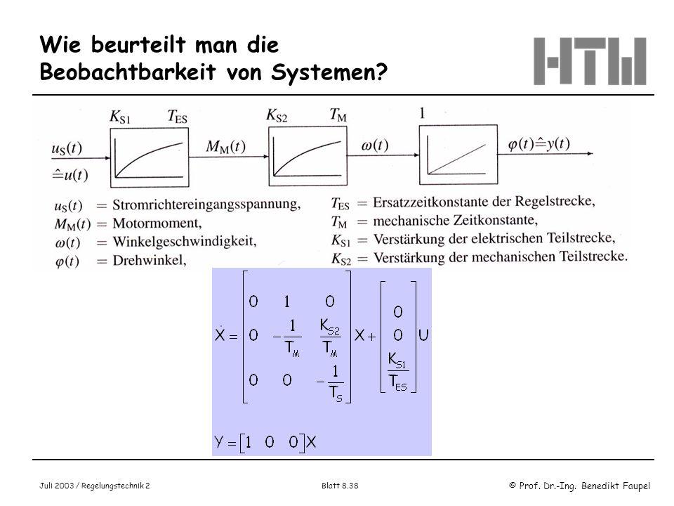 © Prof. Dr.-Ing. Benedikt Faupel Juli 2003 / Regelungstechnik 2 Blatt 8.38 Wie beurteilt man die Beobachtbarkeit von Systemen? Beispiel
