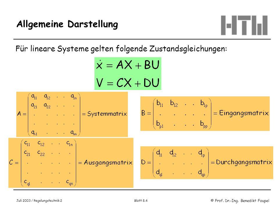 © Prof. Dr.-Ing. Benedikt Faupel Juli 2003 / Regelungstechnik 2 Blatt 8.4 Allgemeine Darstellung Für lineare Systeme gelten folgende Zustandsgleichung