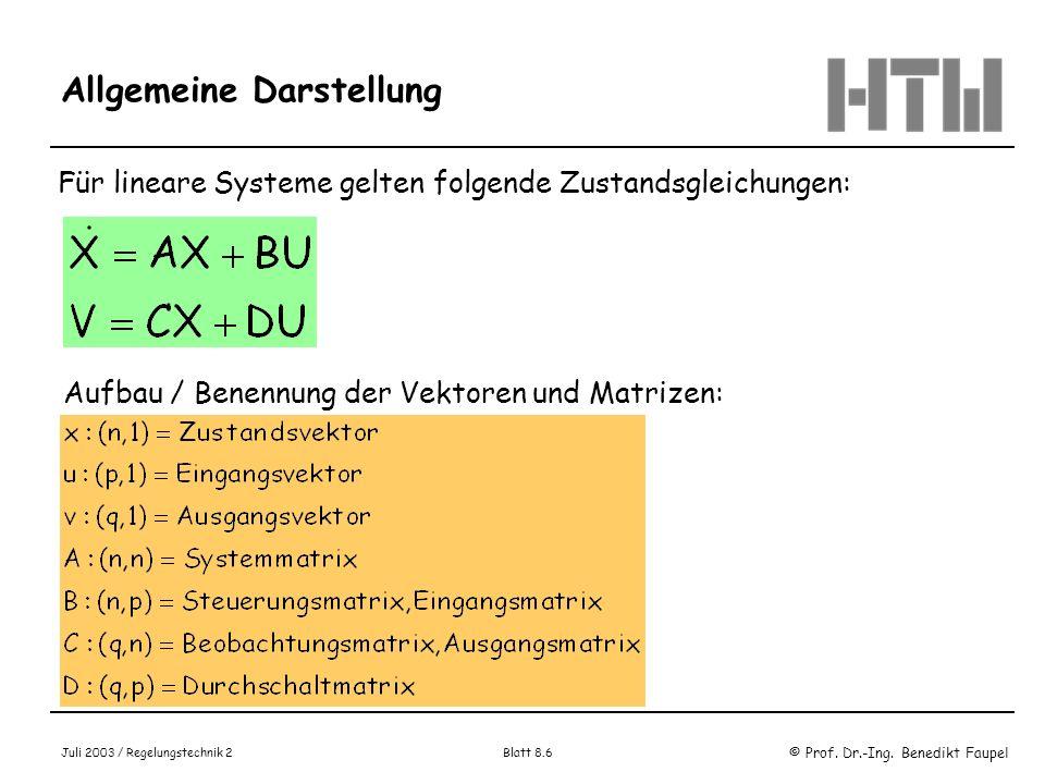 © Prof. Dr.-Ing. Benedikt Faupel Juli 2003 / Regelungstechnik 2 Blatt 8.6 Allgemeine Darstellung Für lineare Systeme gelten folgende Zustandsgleichung