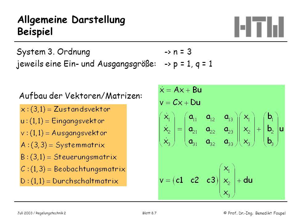 © Prof. Dr.-Ing. Benedikt Faupel Juli 2003 / Regelungstechnik 2 Blatt 8.7 Allgemeine Darstellung Beispiel System 3. Ordnung -> n = 3 jeweils eine Ein-