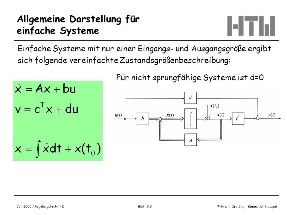 © Prof. Dr.-Ing. Benedikt Faupel Juli 2003 / Regelungstechnik 2 Blatt 8.8 Allgemeine Darstellung für einfache Systeme Einfache Systeme mit nur einer E