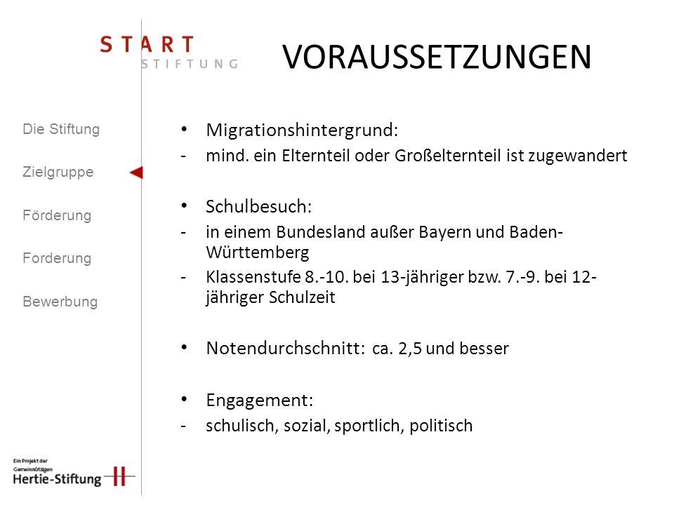 Migrationshintergrund: -mind. ein Elternteil oder Großelternteil ist zugewandert Schulbesuch: -in einem Bundesland außer Bayern und Baden- Württemberg