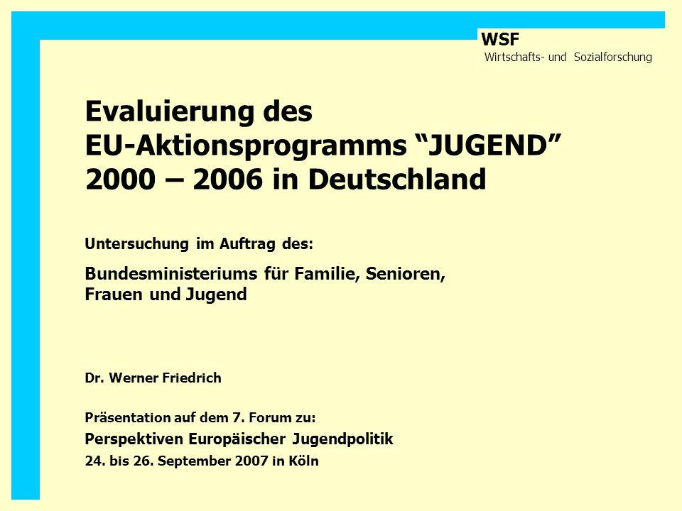 WSF Wirtschafts- und Sozialforschung Evaluierung des EU-Aktionsprogramms JUGEND 2000 – 2006 in Deutschland Untersuchung im Auftrag des: Bundesminister