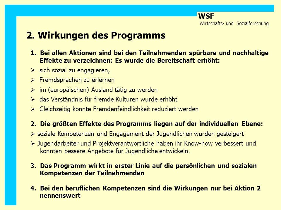 WSF Wirtschafts- und Sozialforschung 2. Wirkungen des Programms 1. Bei allen Aktionen sind bei den Teilnehmenden spürbare und nachhaltige Effekte zu v