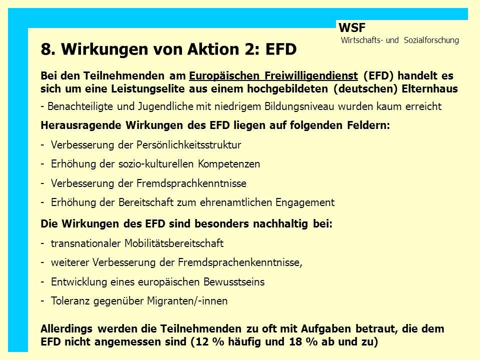 WSF Wirtschafts- und Sozialforschung Bei den Teilnehmenden am Europäischen Freiwilligendienst (EFD) handelt es sich um eine Leistungselite aus einem h