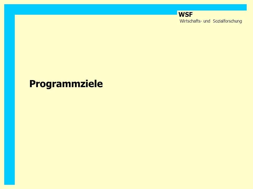 WSF Wirtschafts- und Sozialforschung Programmziele
