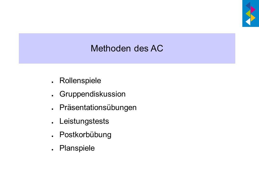 Methoden des AC Rollenspiele Gruppendiskussion Präsentationsübungen Leistungstests Postkorbübung Planspiele