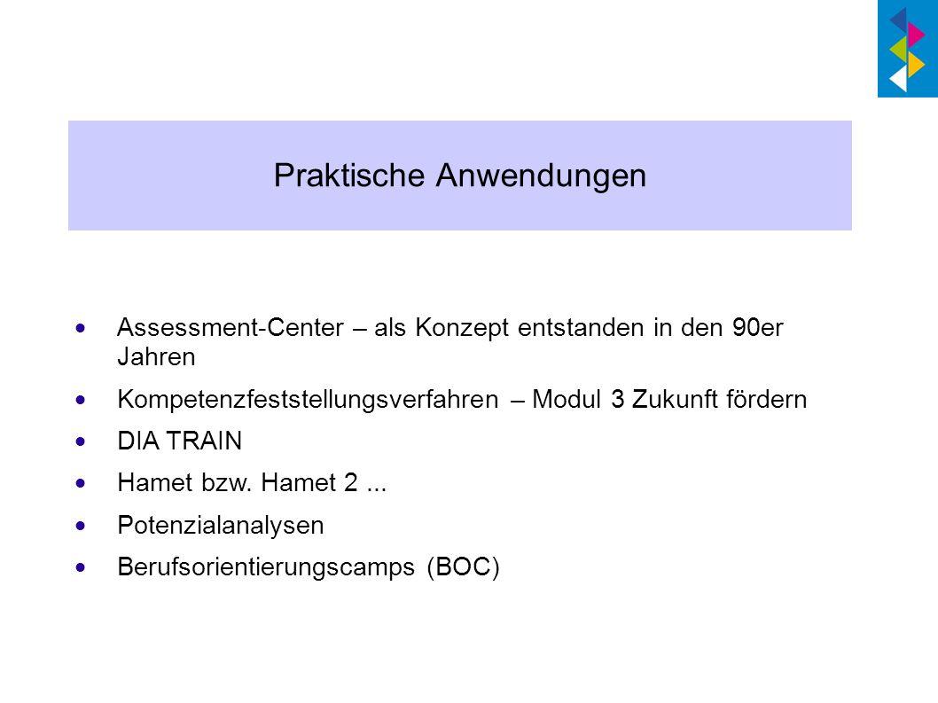 Assessment-Center – als Konzept entstanden in den 90er Jahren Kompetenzfeststellungsverfahren – Modul 3 Zukunft fördern DIA TRAIN Hamet bzw. Hamet 2..