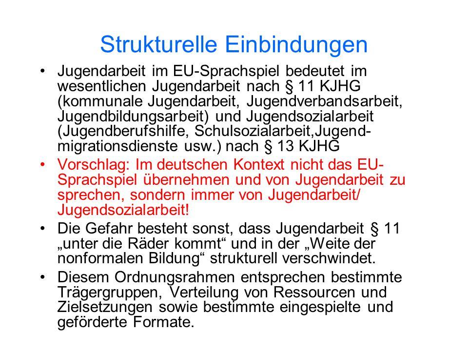 Strukturelle Einbindungen Jugendarbeit im EU-Sprachspiel bedeutet im wesentlichen Jugendarbeit nach § 11 KJHG (kommunale Jugendarbeit, Jugendverbandsa
