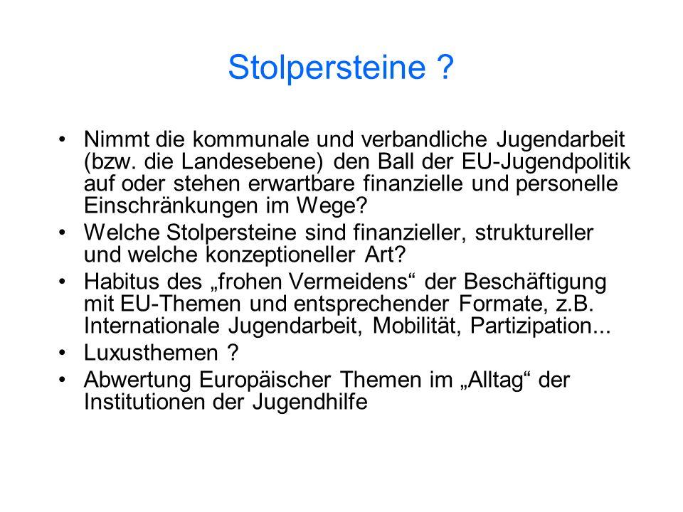 Stolpersteine ? Nimmt die kommunale und verbandliche Jugendarbeit (bzw. die Landesebene) den Ball der EU-Jugendpolitik auf oder stehen erwartbare fina