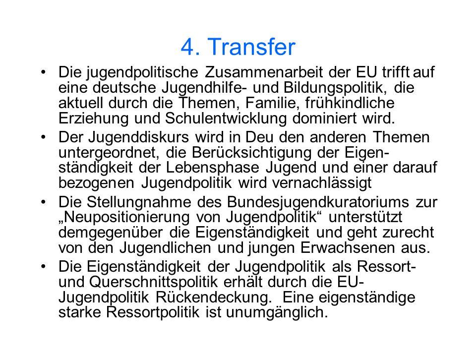 4. Transfer Die jugendpolitische Zusammenarbeit der EU trifft auf eine deutsche Jugendhilfe- und Bildungspolitik, die aktuell durch die Themen, Famili