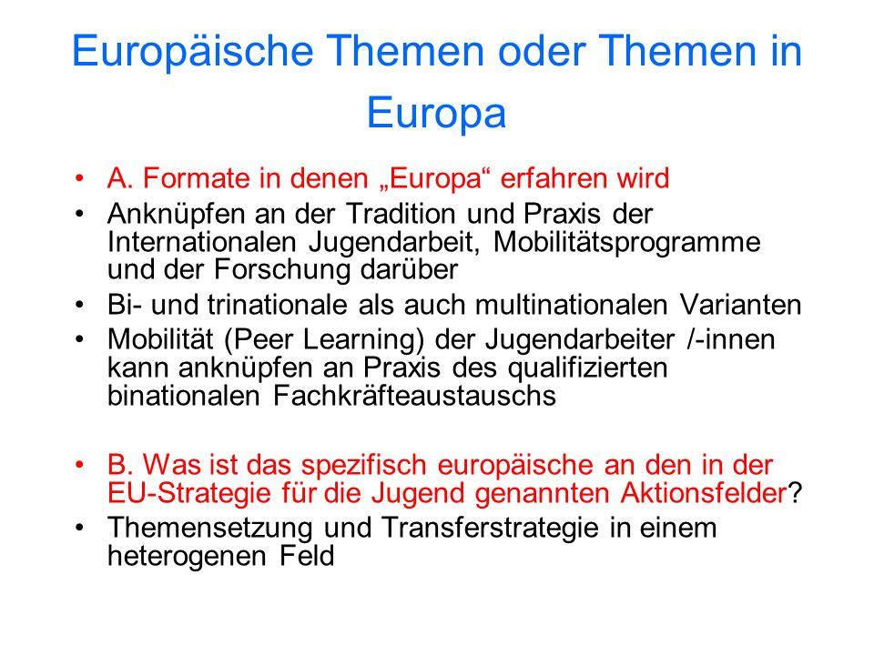 Europäische Themen oder Themen in Europa A. Formate in denen Europa erfahren wird Anknüpfen an der Tradition und Praxis der Internationalen Jugendarbe
