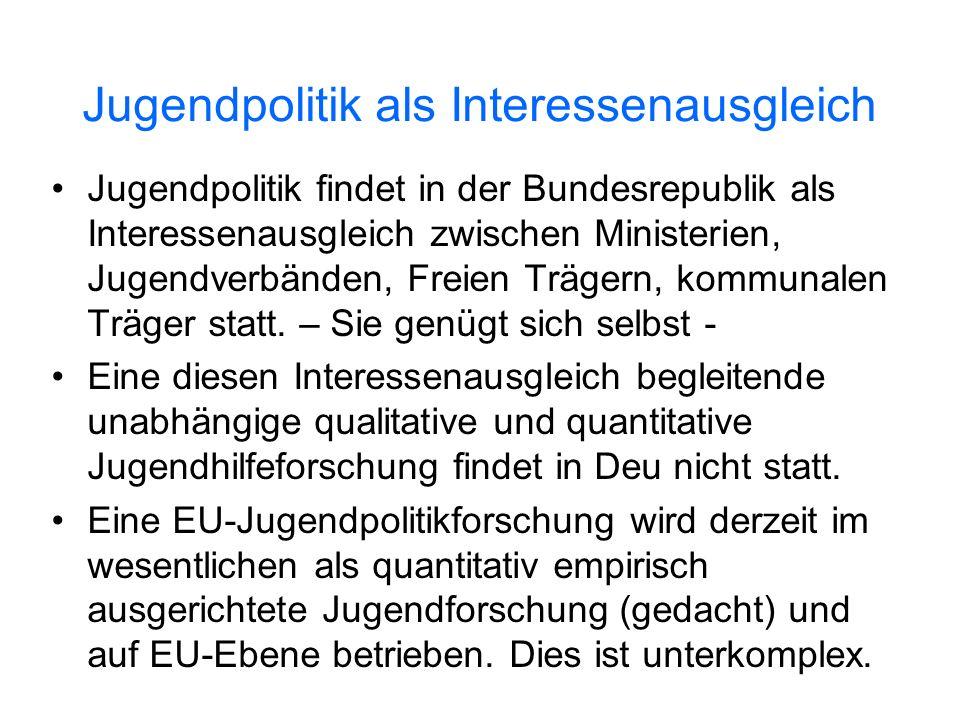 Jugendpolitik als Interessenausgleich Jugendpolitik findet in der Bundesrepublik als Interessenausgleich zwischen Ministerien, Jugendverbänden, Freien