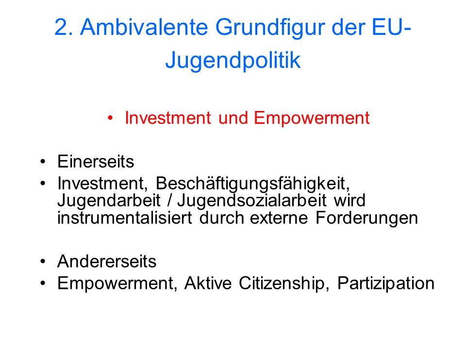 2. Ambivalente Grundfigur der EU- Jugendpolitik Investment und Empowerment Einerseits Investment, Beschäftigungsfähigkeit, Jugendarbeit / Jugendsozial