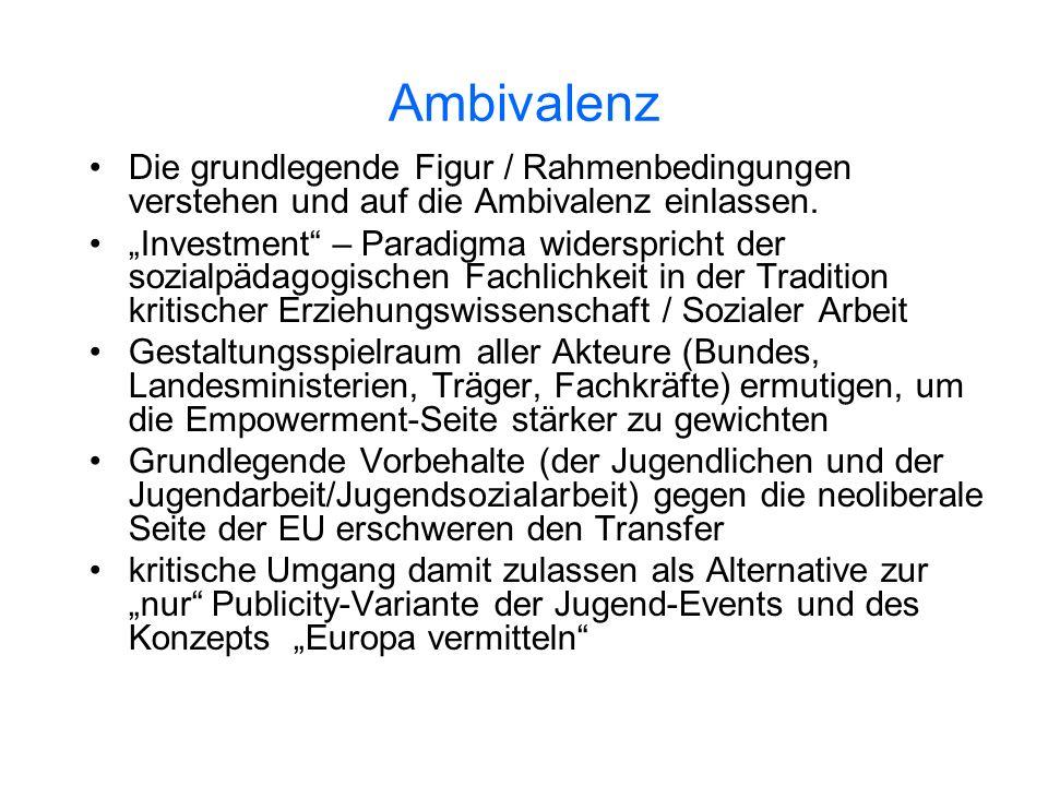 Ambivalenz Die grundlegende Figur / Rahmenbedingungen verstehen und auf die Ambivalenz einlassen. Investment – Paradigma widerspricht der sozialpädago