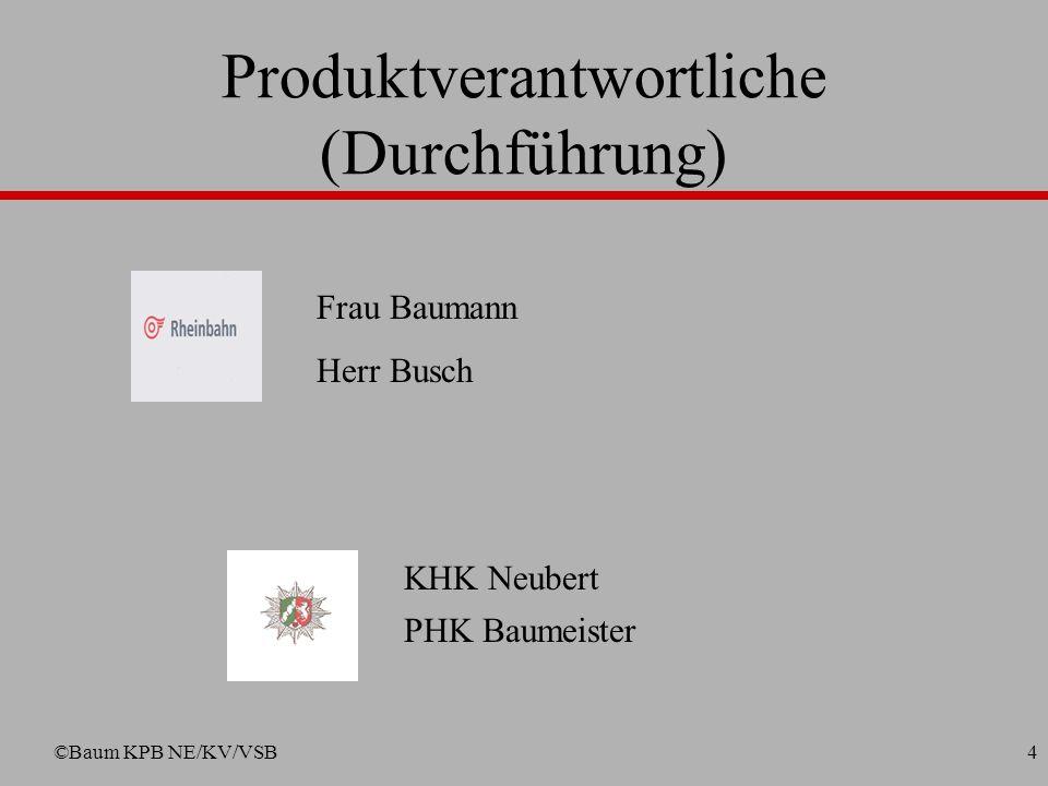 ©Baum KPB NE/KV/VSB4 Frau Baumann Herr Busch KHK Neubert PHK Baumeister Produktverantwortliche (Durchführung)