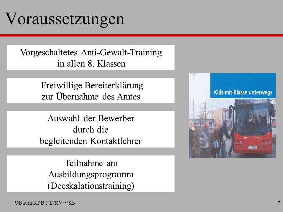 ©Baum KPB NE/KV/VSB6 Konzept (in enger Anlehnung an das Konzept Fahr fair der Bogestra, Bochum) Spaßvolles und sicheres Busfahren Anti-Gewalttraining