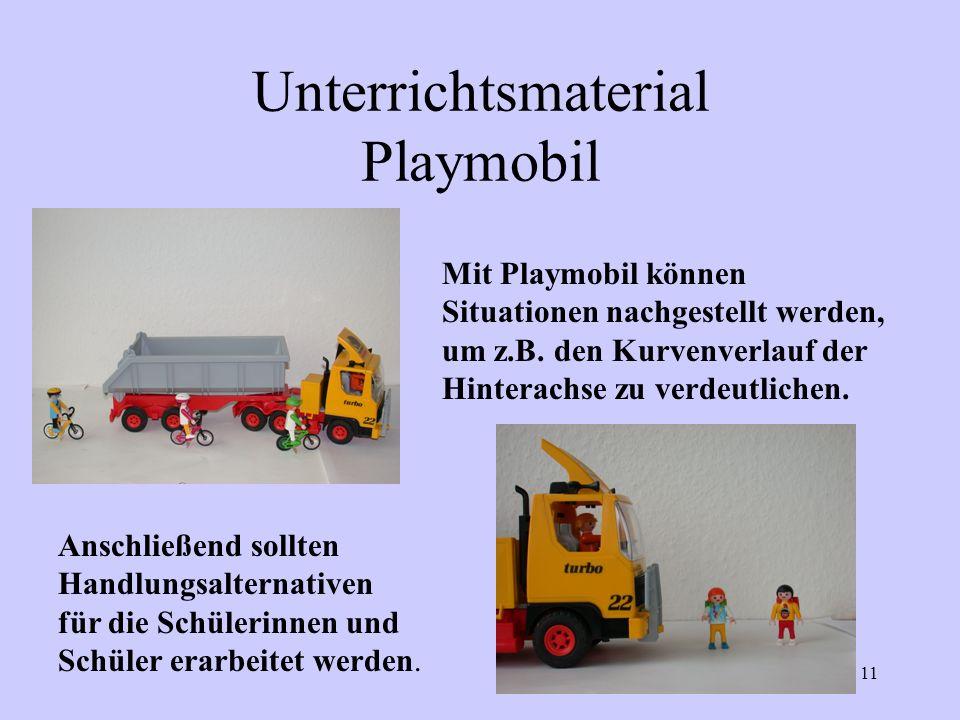 11 Unterrichtsmaterial Playmobil Mit Playmobil können Situationen nachgestellt werden, um z.B. den Kurvenverlauf der Hinterachse zu verdeutlichen. Ans