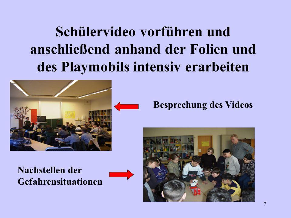 7 Schülervideo vorführen und anschließend anhand der Folien und des Playmobils intensiv erarbeiten Besprechung des Videos Nachstellen der Gefahrensitu