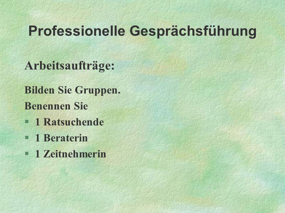 Professionelle Gesprächsführung Arbeitsaufträge: Bilden Sie Gruppen. Benennen Sie §1 Ratsuchende §1 Beraterin §1 Zeitnehmerin