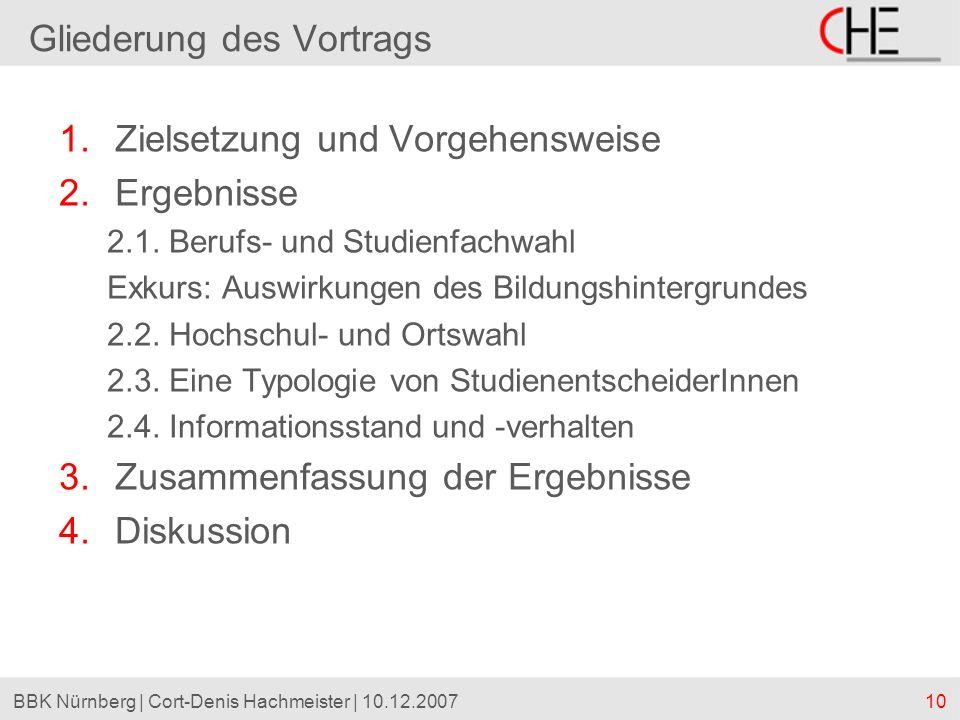 10BBK Nürnberg | Cort-Denis Hachmeister | 10.12.2007 1.Zielsetzung und Vorgehensweise 2.Ergebnisse 2.1. Berufs- und Studienfachwahl Exkurs: Auswirkung
