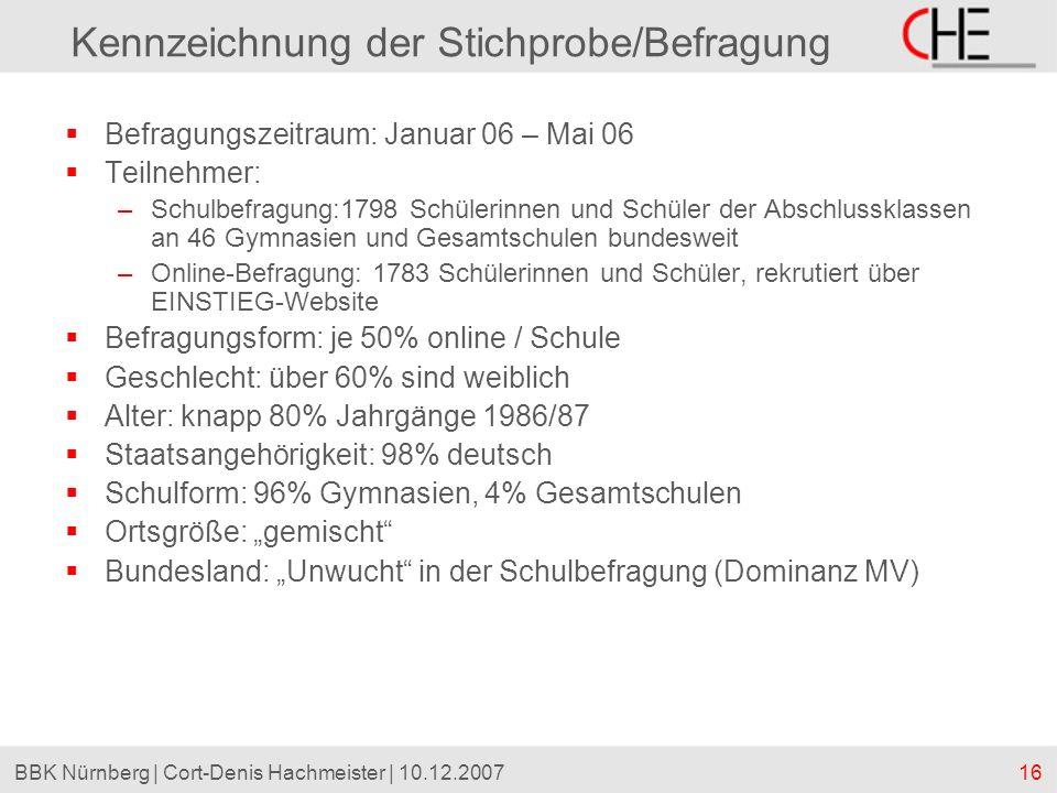 16BBK Nürnberg | Cort-Denis Hachmeister | 10.12.2007 Kennzeichnung der Stichprobe/Befragung Befragungszeitraum: Januar 06 – Mai 06 Teilnehmer: –Schulb
