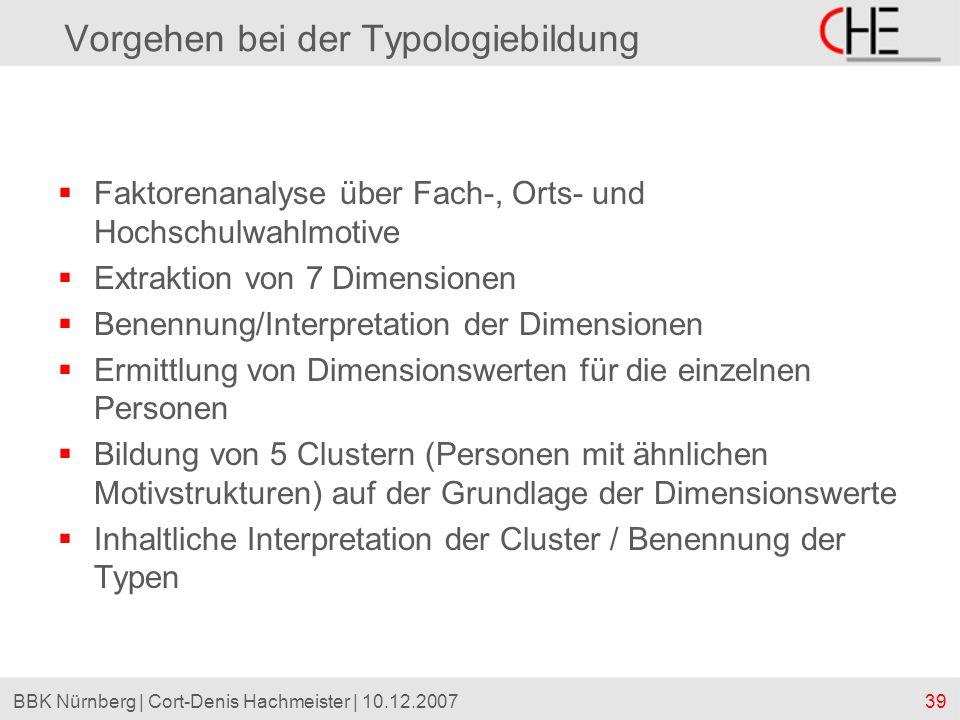 39BBK Nürnberg | Cort-Denis Hachmeister | 10.12.2007 Vorgehen bei der Typologiebildung Faktorenanalyse über Fach-, Orts- und Hochschulwahlmotive Extra
