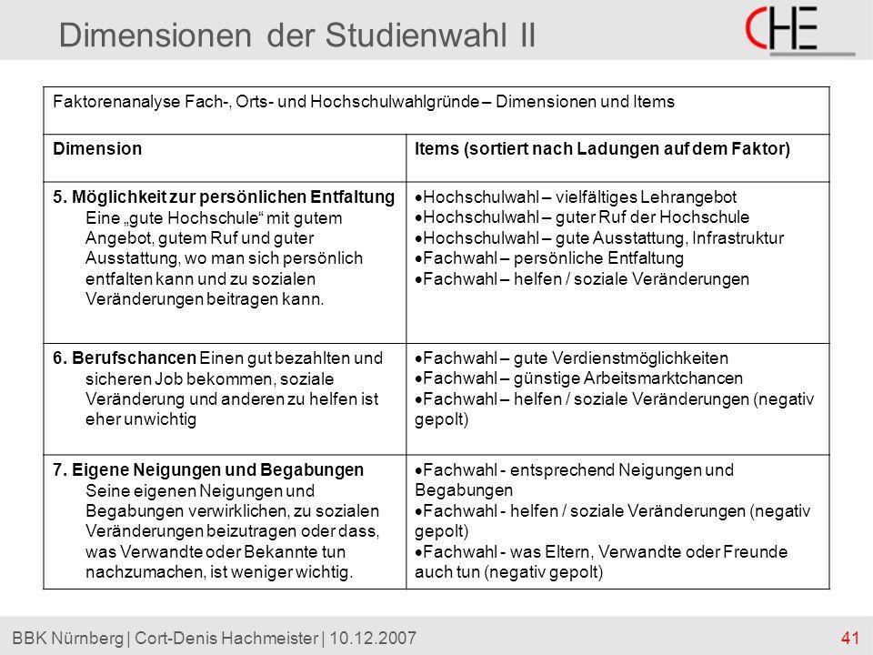 41BBK Nürnberg | Cort-Denis Hachmeister | 10.12.2007 Dimensionen der Studienwahl II Faktorenanalyse Fach-, Orts- und Hochschulwahlgründe – Dimensionen
