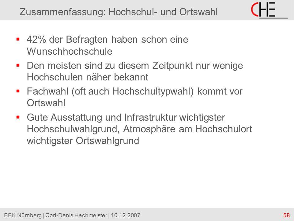 58BBK Nürnberg | Cort-Denis Hachmeister | 10.12.2007 Zusammenfassung: Hochschul- und Ortswahl 42% der Befragten haben schon eine Wunschhochschule Den